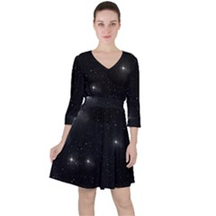 Starry Galaxy Night Black And White Stars Ruffle Dress