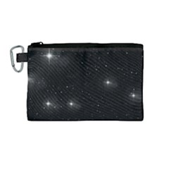 Starry Galaxy Night Black And White Stars Canvas Cosmetic Bag (medium)