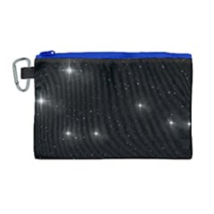 Starry Galaxy Night Black And White Stars Canvas Cosmetic Bag (large)