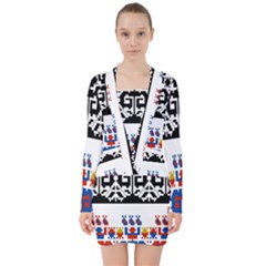 Bulgarian Folk Art Folk Art V Neck Bodycon Long Sleeve Dress