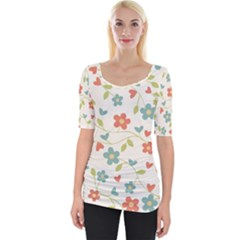 Abstract Art Background Colorful Wide Neckline Tee