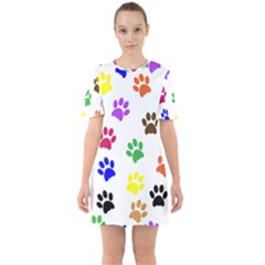 Pawprints Paw Prints Paw Animal Sixties Short Sleeve Mini Dress