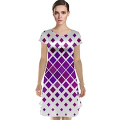 Pattern Square Purple Horizontal Cap Sleeve Nightdress