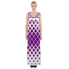 Pattern Square Purple Horizontal Maxi Thigh Split Dress
