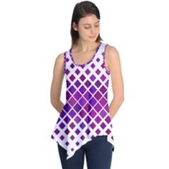 Pattern Square Purple Horizontal Sleeveless Tunic