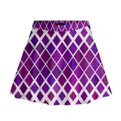 Pattern Square Purple Horizontal Mini Flare Skirt