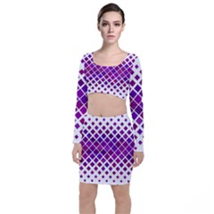Pattern Square Purple Horizontal Long Sleeve Crop Top & Bodycon Skirt Set