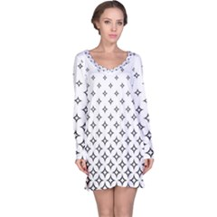 Star Pattern Decoration Geometric Long Sleeve Nightdress