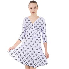 Star Pattern Decoration Geometric Quarter Sleeve Front Wrap Dress