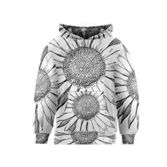 Sunflower Flower Line Art Summer Kids  Pullover Hoodie