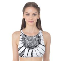 Sunflower Flower Line Art Summer Tank Bikini Top