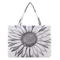 Sunflower Flower Line Art Summer Medium Tote Bag