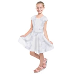 Marble Texture White Pattern Kids  Short Sleeve Dress