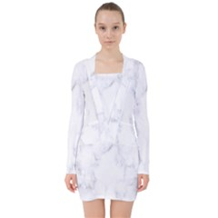 Marble Texture White Pattern V Neck Bodycon Long Sleeve Dress