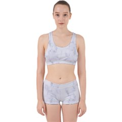 Marble Texture White Pattern Work It Out Sports Bra Set