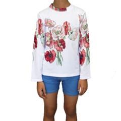 Flowers Poppies Poppy Vintage Kids  Long Sleeve Swimwear