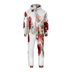 Flowers Poppies Poppy Vintage Hooded Jumpsuit (kids)
