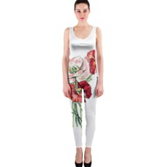 Flowers Poppies Poppy Vintage Onepiece Catsuit