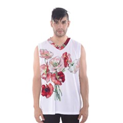 Flowers Poppies Poppy Vintage Men s Basketball Tank Top