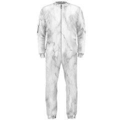 White Background Pattern Tile Onepiece Jumpsuit (men)