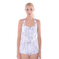 White Background Pattern Tile Boyleg Halter Swimsuit