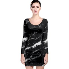 Black Texture Background Stone Long Sleeve Bodycon Dress