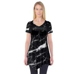 Black Texture Background Stone Short Sleeve Tunic
