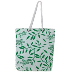 Leaves Foliage Green Wallpaper Full Print Rope Handle Tote (large)