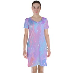Space Psychedelic Colorful Color Short Sleeve Nightdress