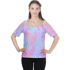 Space Psychedelic Colorful Color Cutout Shoulder Tee
