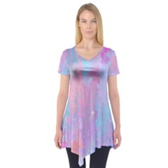 Space Psychedelic Colorful Color Short Sleeve Tunic