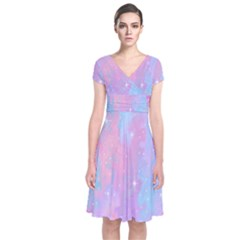 Space Psychedelic Colorful Color Short Sleeve Front Wrap Dress