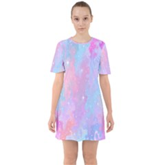 Space Psychedelic Colorful Color Sixties Short Sleeve Mini Dress