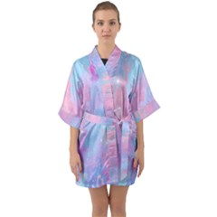 Space Psychedelic Colorful Color Quarter Sleeve Kimono Robe