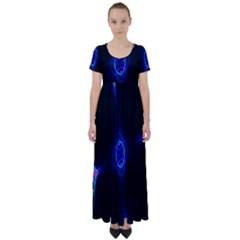Lightning Kaleidoscope Art Pattern High Waist Short Sleeve Maxi Dress