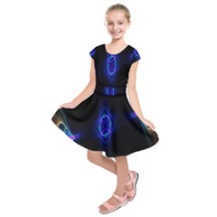 Lightning Kaleidoscope Art Pattern Kids  Short Sleeve Dress