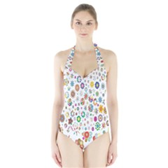 Design Aspect Ratio Abstract Halter Swimsuit