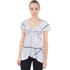 White Background Pattern Tile Lace Front Dolly Top