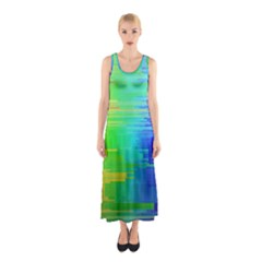 Colors Rainbow Chakras Style Sleeveless Maxi Dress
