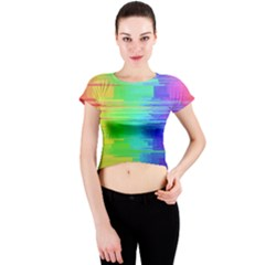 Colors Rainbow Chakras Style Crew Neck Crop Top