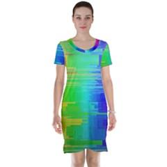 Colors Rainbow Chakras Style Short Sleeve Nightdress