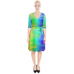 Colors Rainbow Chakras Style Wrap Up Cocktail Dress