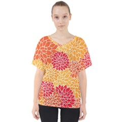Abstract Art Background Colorful V Neck Dolman Drape Top