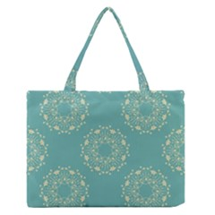 Floral Vintage Royal Frame Pattern Zipper Medium Tote Bag