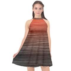 Background Red Orange Modern Halter Neckline Chiffon Dress