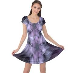 Fractal Flower Lavender Art Cap Sleeve Dress