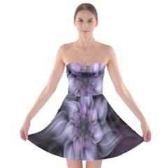 Fractal Flower Lavender Art Strapless Bra Top Dress