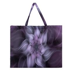 Fractal Flower Lavender Art Zipper Large Tote Bag