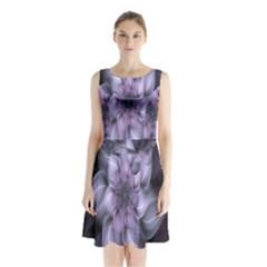 Fractal Flower Lavender Art Sleeveless Waist Tie Chiffon Dress