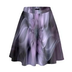 Fractal Flower Lavender Art High Waist Skirt